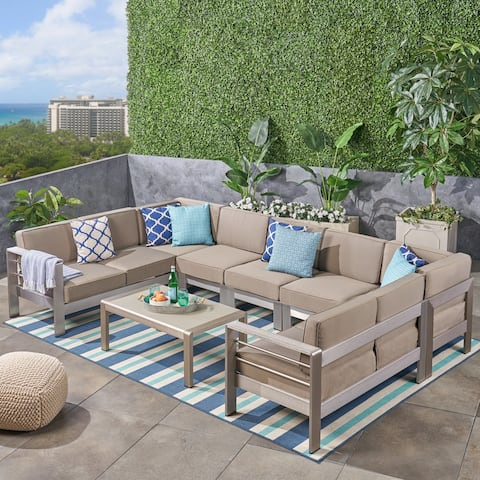 Cape Coral Outdoor 9-Seater Aluminum Sectional Sofa Set with Coffee Table by Christopher Knight Home