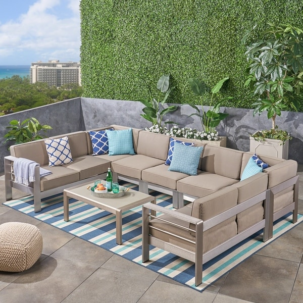 Shop cape coral outdoor 9 seater aluminum sectional sofa for 9 seater sofa set