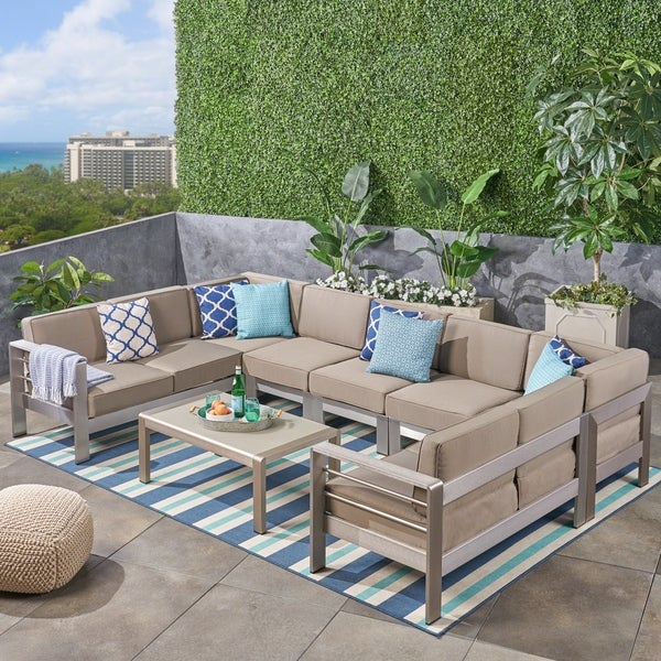Outdoor Couch For Sale Pensacola: Shop Cape Coral Outdoor 9-Seater Aluminum Sectional Sofa
