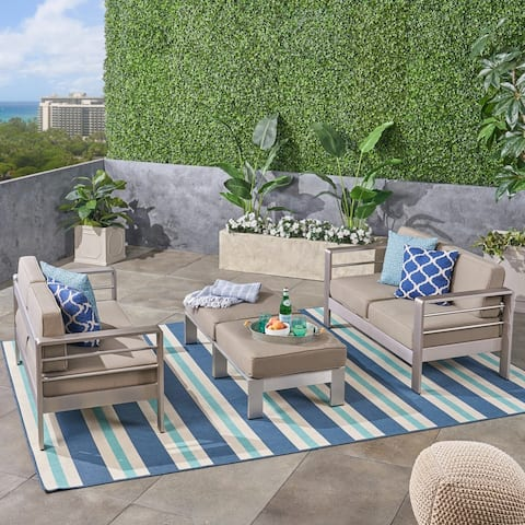 Cape Coral Outdoor 4-Seater Aluminum Loveseat and Ottoman Set by Christopher Knight Home