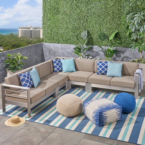 Cape Coral Outdoor 7-Seater Aluminum Sectional Sofa Set by Christopher Knight Home