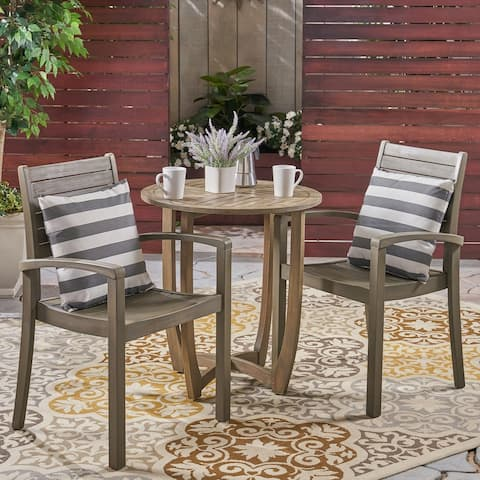 Waverley Outdoor 2-Seater Acacia Wood Bistro Set by Christopher Knight Home