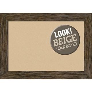 Framed Beige Cork Board, Fencepost Brown