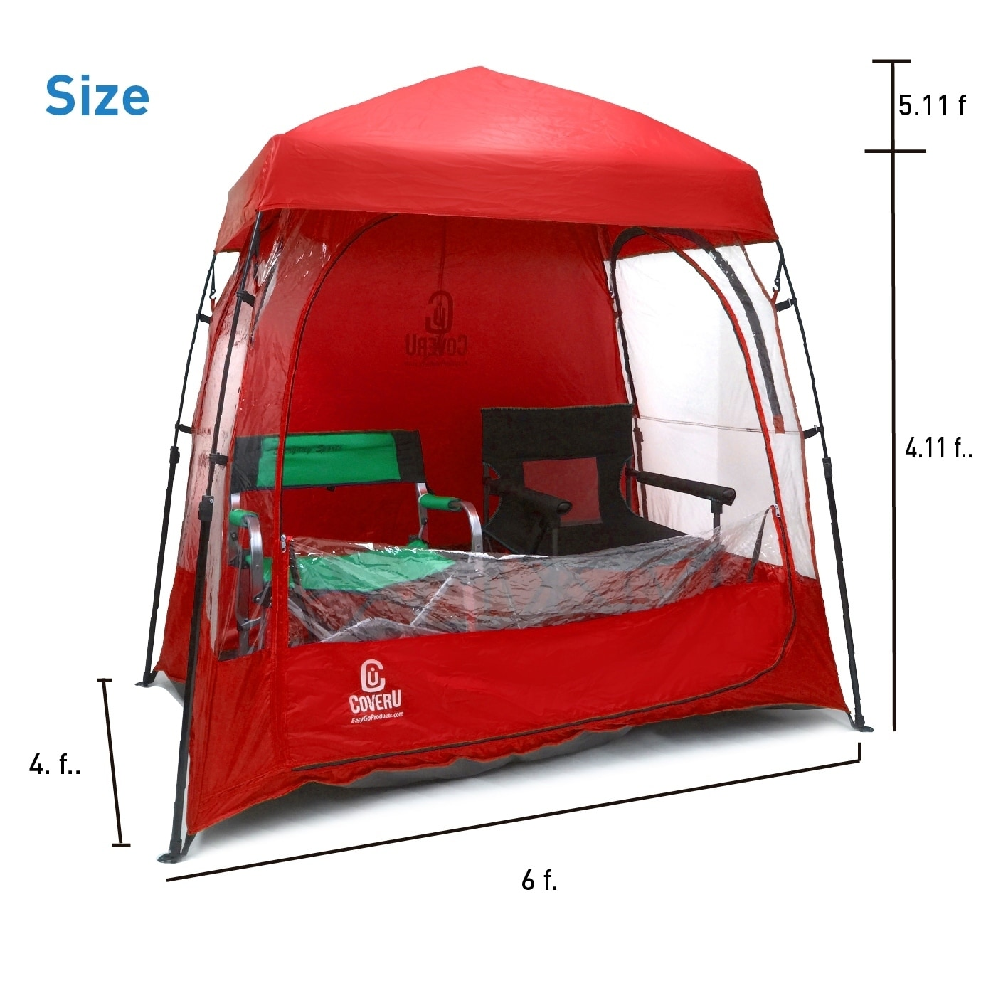 EasyGoProducts CoverU Sports Shelter Patents 2 Person Weather Tent Pod RED