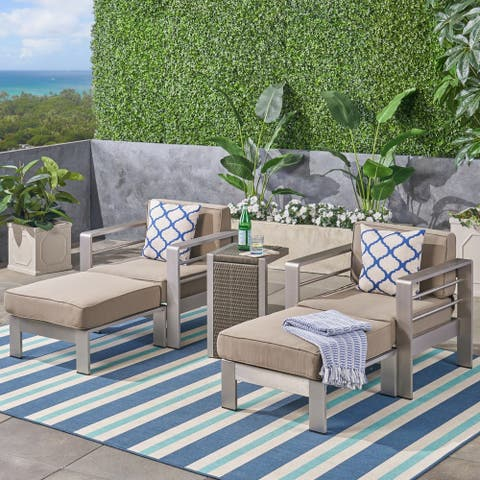 Cape Coral Outdoor 2-Seater Aluminum Club Chair Chat Set with Side Table and Ottoman by Christopher Knight Home