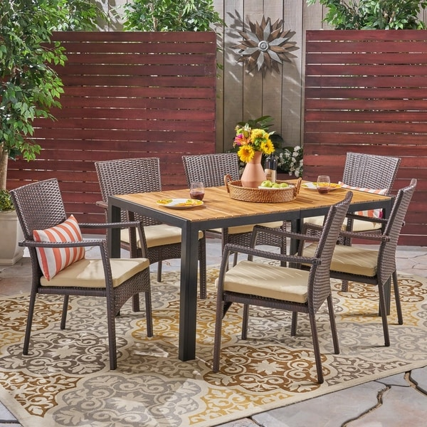 Goodwin Outdoor 6-Seater Rectangular Acacia Wood and Wicker Dining Set by Christopher Knight Home. Opens flyout.