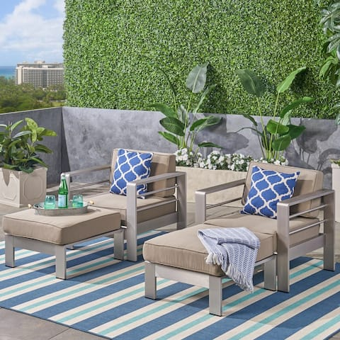 Cape Coral Outdoor 2-Seater Aluminum Club Chair Chat Set with Ottomans by Christopher Knight Home