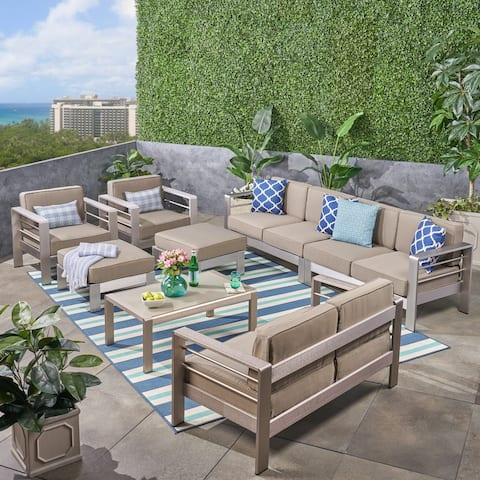 Cape Coral Outdoor 8-Seater Aluminum Sectional Sofa Set with Ottomans by Christopher Knight Home