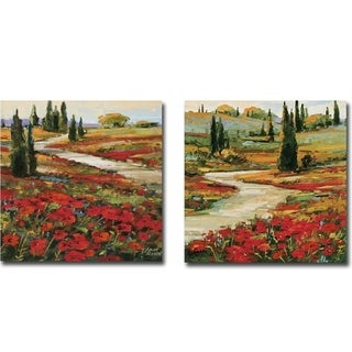 Hills in Bloom I and II by David Jackson 2-piece Gallery Wrapped Canvas Giclee Art Set (Ready to Hang)