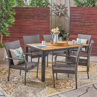 Tyburn Outdoor 6-Seater Rectangular Acacia Wood and Wicker Dining Set by Christopher Knight Home