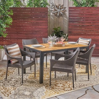 Ramstead Outdoor 6-Seater Rectangular Acacia Wood and Wicker Dining Set by Christopher Knight Home