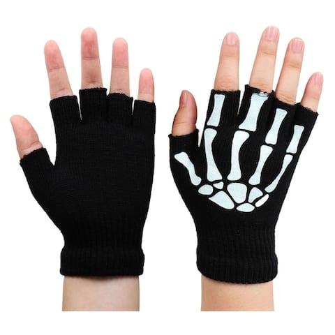 Men / Women's Skeleton Pattern Knit Gloves Fingerless Gloves