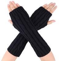 Women's Long Knitted Stretchy Fingerless Gloves