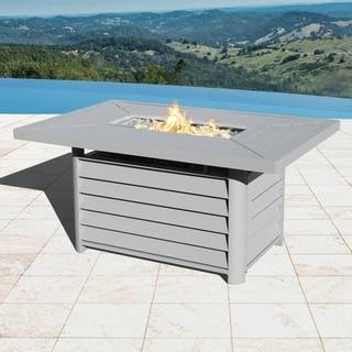 Havenside Home Wevok Rectangle Aluminum Propane Fire Pit Table