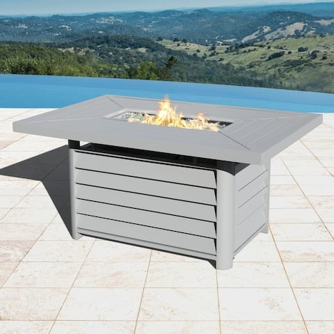 Havenside Home Wevok Rectangle Aluminum Propane Fire Pit Table