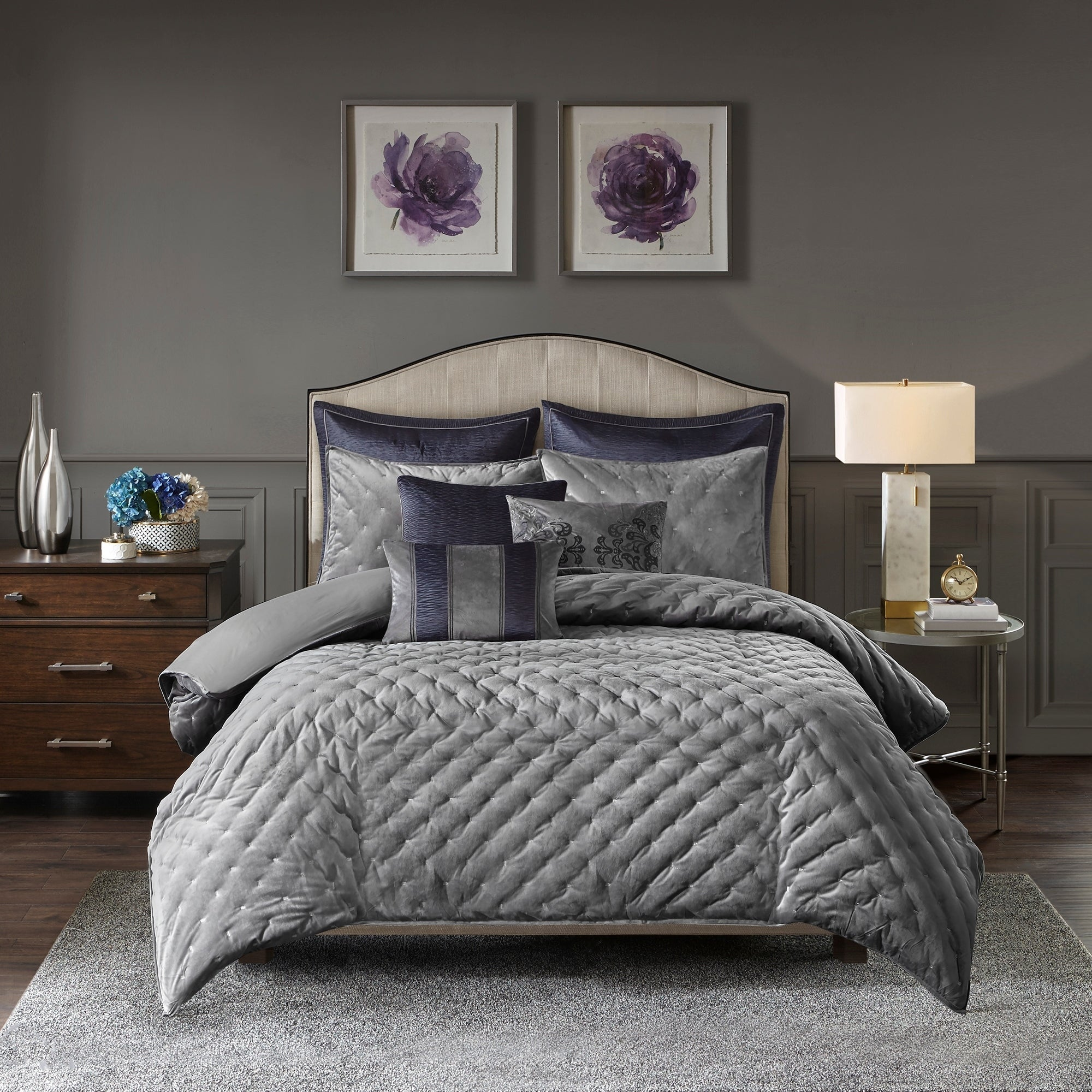 Madison Park Signature Sophisticate Grey Velvet Comforter Set On Sale Overstock 24041938