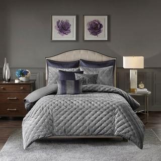 Madison Park Signature Sophisticate Grey Velvet Comforter Set