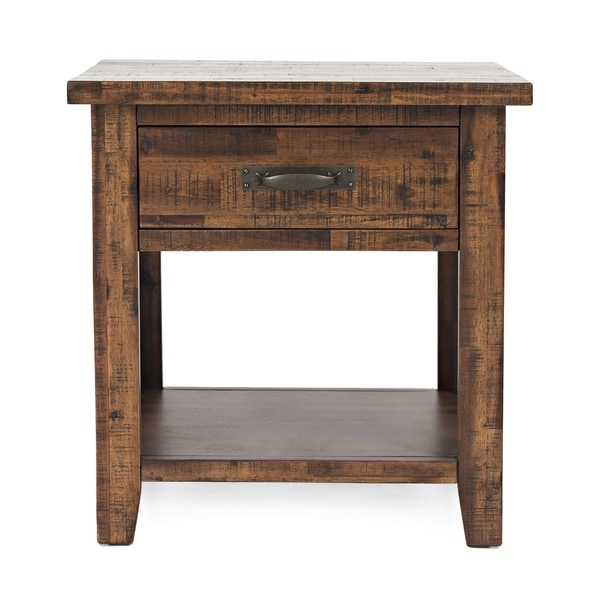 Wooden Nightstand with Drawer and Bottom Shelf, Brown