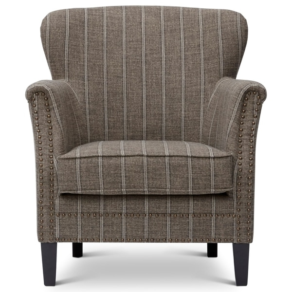 Fabric Upholstered Wooden Accent Chair with Nail head Trim, Mocha Brown And Gray