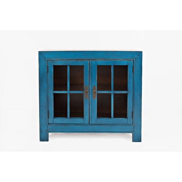 Wooden Accent Cabinet with Two Glass Inserted Doors, Blue