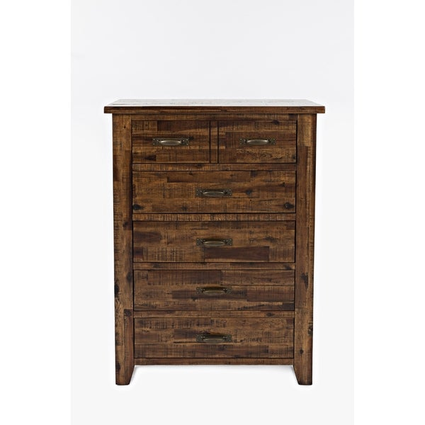 Five Drawers Wooden Chest with Metal Handles, Brown