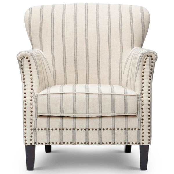 Fabric Upholstered Wooden Accent Chair with Nail head Trim, White and Gray