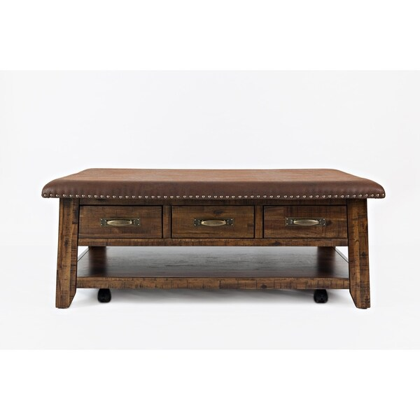 Faux Leather Upholstered Wooden Ottoman Tail Table With 3 Drawers Brown