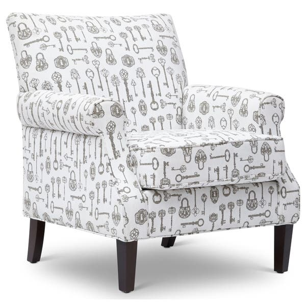 Strange Printed Fabric Upholstered Wooden Accent Chair With Rolled Arms White And Gray Bralicious Painted Fabric Chair Ideas Braliciousco