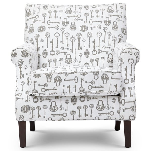 Shop Printed Fabric Upholstered Wooden Accent Chair With