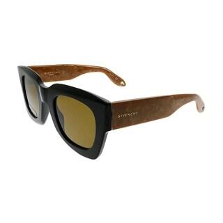 Givenchy Square GV 7061 0WM 70 Unisex Black Honey Frame Brown Lens Sunglasses