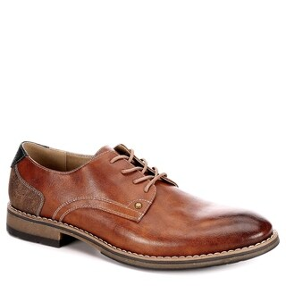 Varese Mens Nick Lace Up Plain Toe Oxford Shoes, Cognac