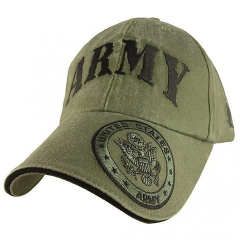 US Army Presidential Seal Logo Embroidered Green Military Ball Cap