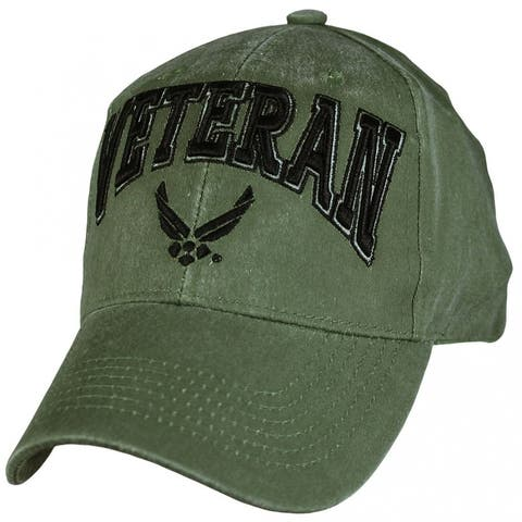 US Air Force Veteran Embroidered Olive Green Military Ball Cap