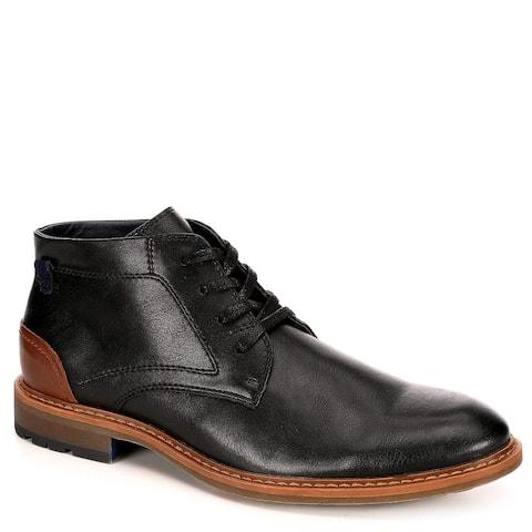 Restoration Mens Wayne Leather Chukka Ankle Boot Shoes, Black
