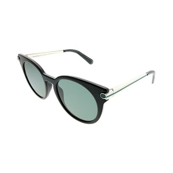 fa2f9a024c Salvatore Ferragamo Round SF 831S 976 Women Black Silver Striped Green  Frame Grey Lens Sunglasses