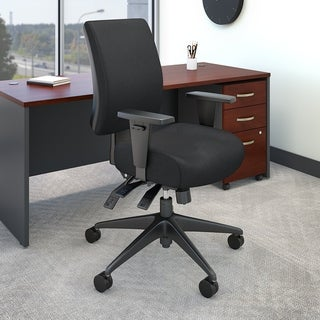 Accord Mid Back Deluxe Multifunction Office Chair in Black Fabric