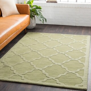 Hand-Woven Amy Tone-on-Tone Lattice Wool Area Rug - 10' x 14'