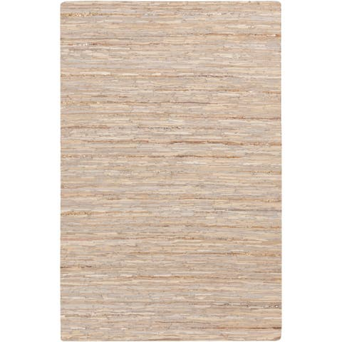 Hand-Woven Chard Stripe Leather Area Rug - 9' x 12'