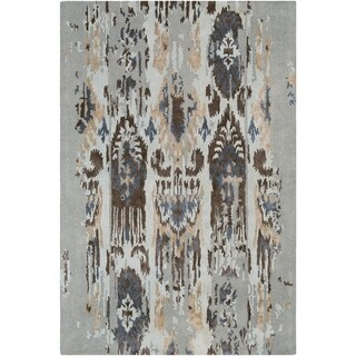 Porch & Den Arikara Blue Viscose/Wool Handmade Ikat Rug - 9' x 13'
