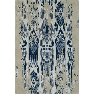 Porch & Den Anzalone Grey and Blue Hand-tufted Wool Area Rug - 9' x 13'