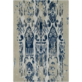 Porch & Den Anzalone Grey and Blue Hand-tufted Wool Area Rug - 8' x 11'