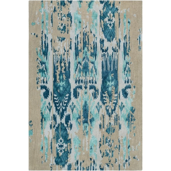 Porch & Den Anzalone Blue Hand-tufted Wool Area Rug - 9' x 13'