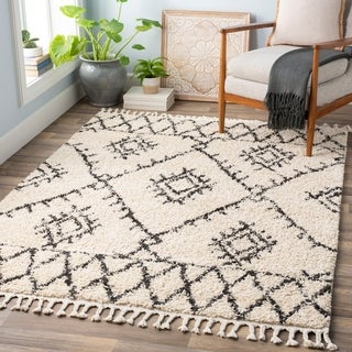 "The Curated Nomad Hyde Street Beige Bohemian Shag Area Rug - 9'2"" x 12'"