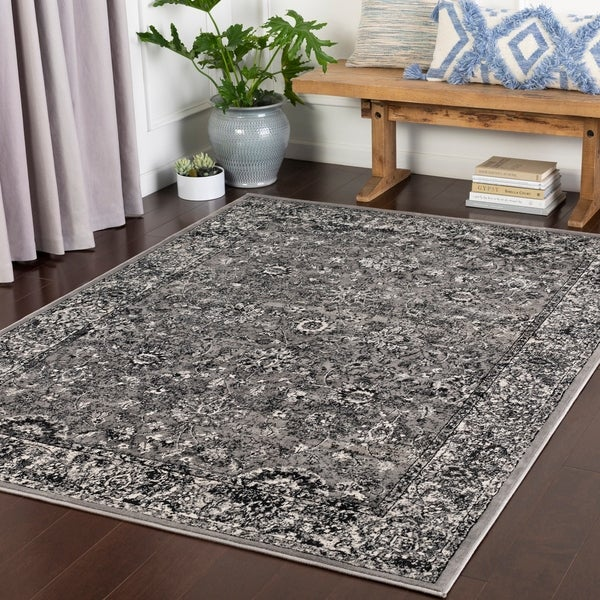 "Piovene Medium Grey Traditional Area Rug - 7'10"" x 10'3"""