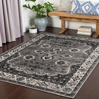 "Teunis Medium Grey Traditional Area Rug - 7'10"" x 10'3"""