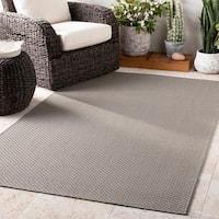 """Badri Solid Grey Indoor / Outdoor Area Rug - 7'10"""" x 10'3"""""""