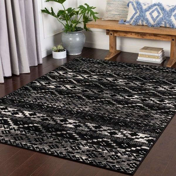 Faro Black Southwestern Stripes Area Rug 9 X27 3