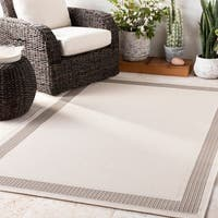 "Shaffer Ivory Bordered Indoor / Outdoor Area Rug - 7'10"" x 10'3"""
