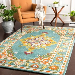 Maisey Teal Updated Traditional Area Rug - 8' x 11'