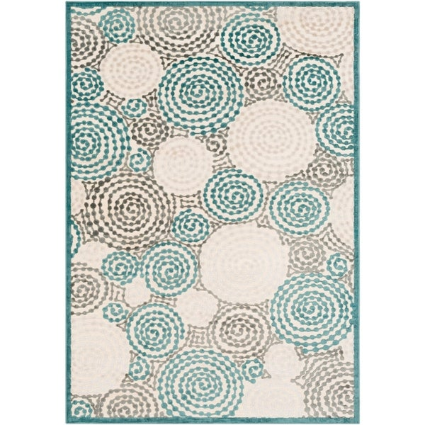 "Baise Viscose/Chenille Geometric Circles Area Rug - 4' x 5'7"""